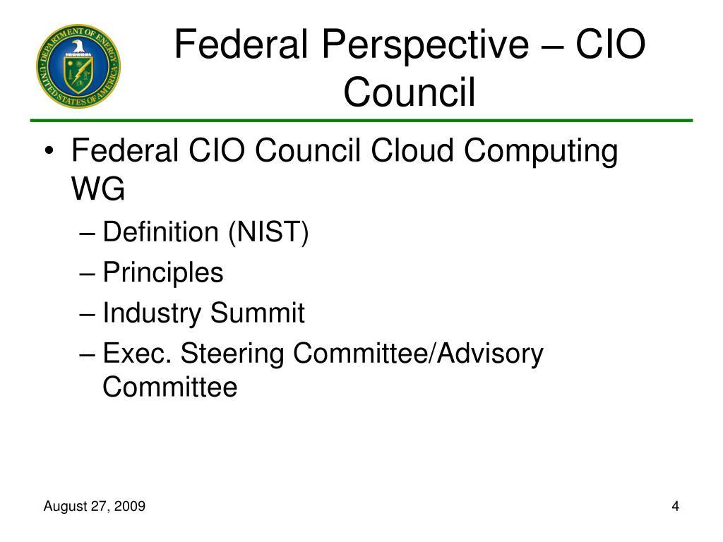Federal Perspective – CIO Council