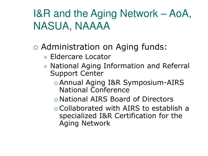 I&R and the Aging Network – AoA, NASUA, NAAAA