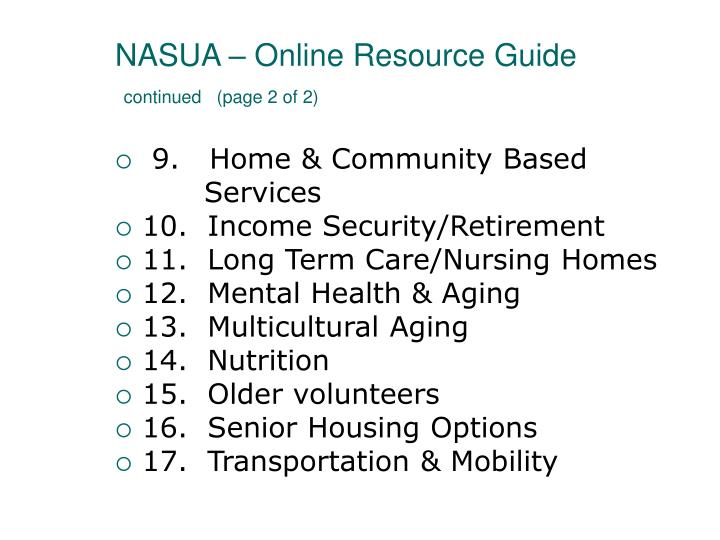 NASUA – Online Resource Guide
