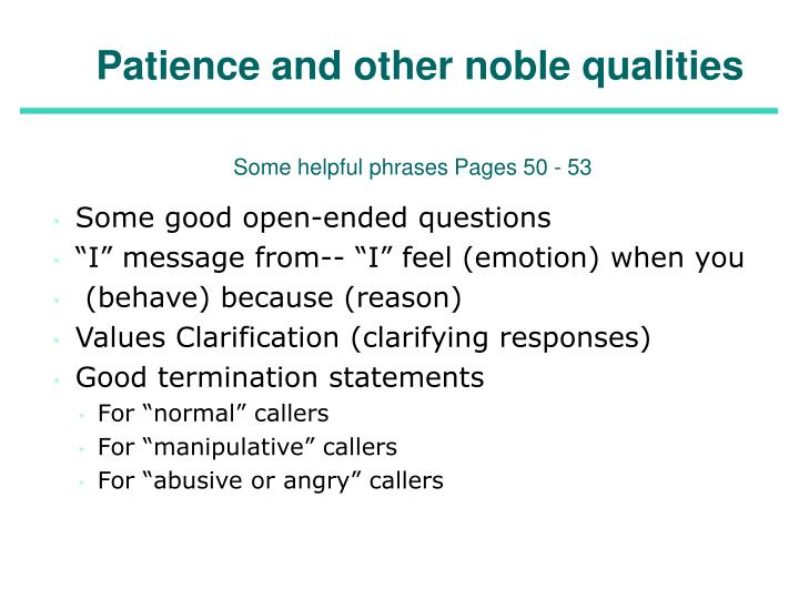 Patience and other noble qualities