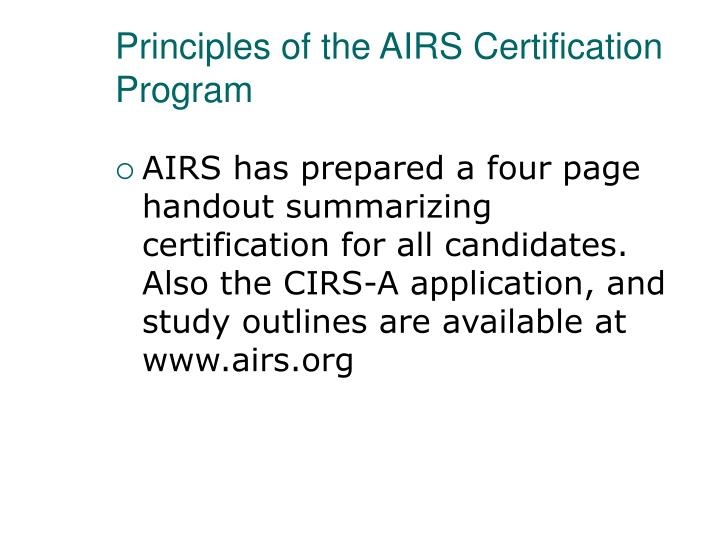 Principles of the AIRS Certification Program