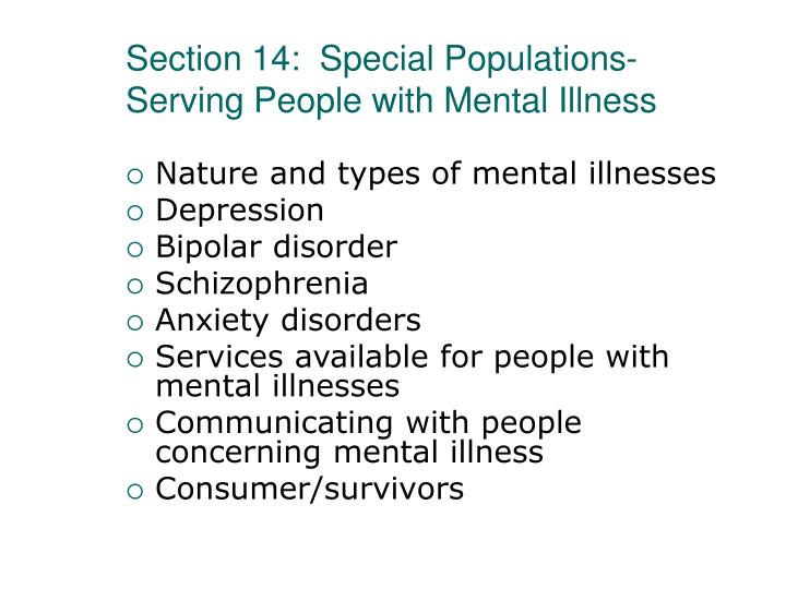 Section 14:  Special Populations-Serving People with Mental Illness