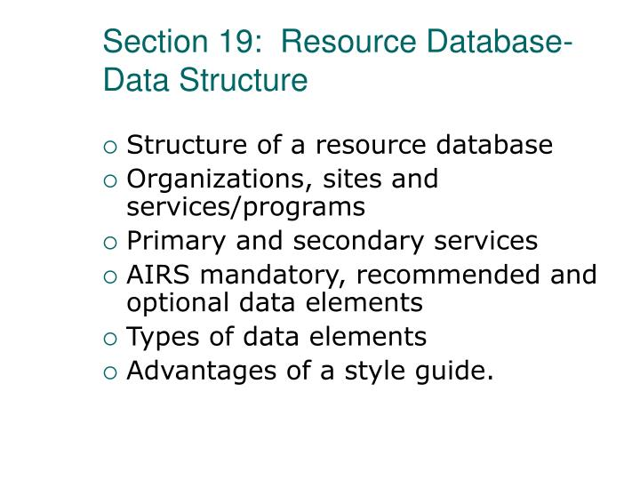 Section 19:  Resource Database-Data Structure