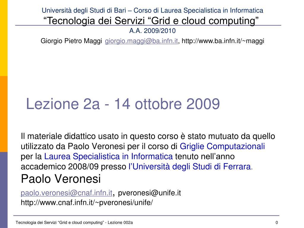 Lezione 2a - 14 ottobre 2009