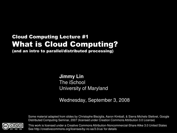 Jimmy lin the ischool university of maryland wednesday september 3 2008