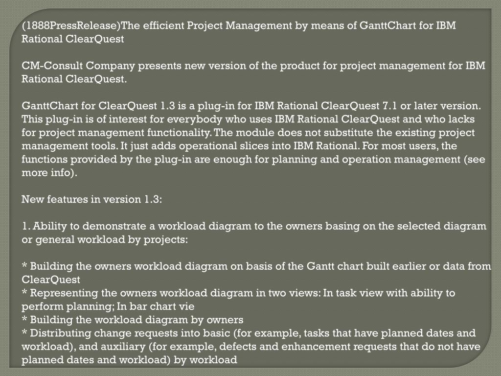 (1888PressRelease)The efficient Project Management by means of GanttChart for IBM Rational ClearQuest