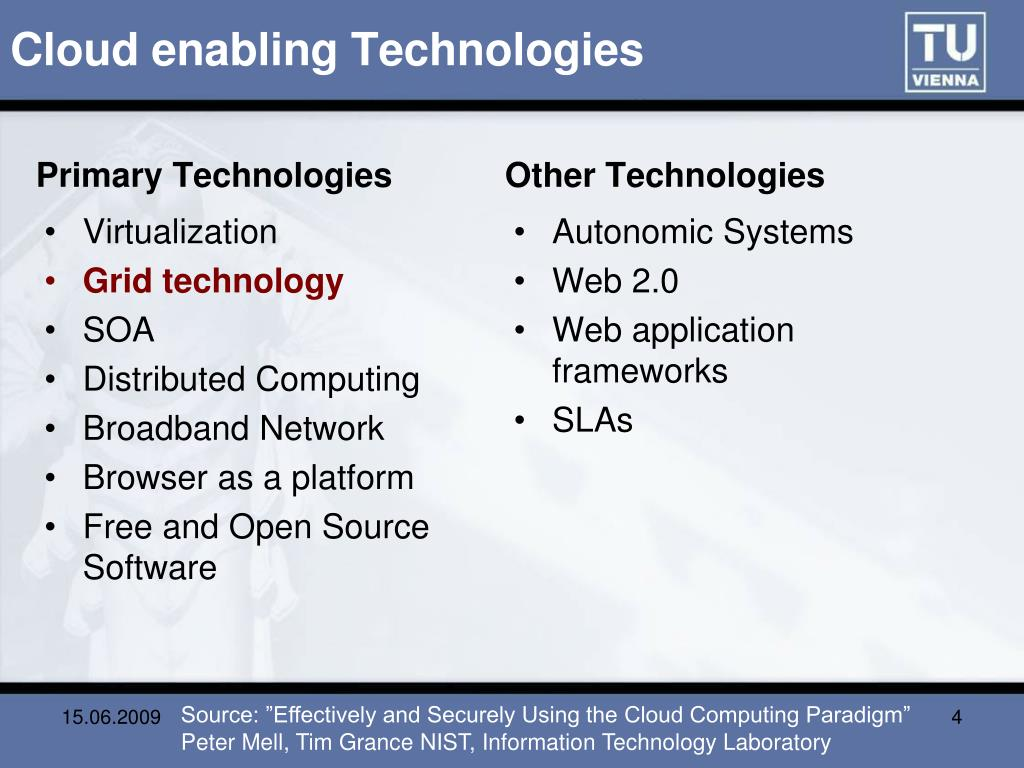 Cloud enabling Technologies
