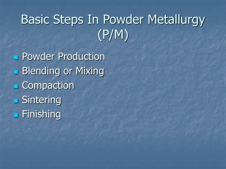 Basic steps in powder metallurgy p m