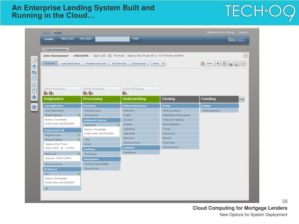 An Enterprise Lending System Built and