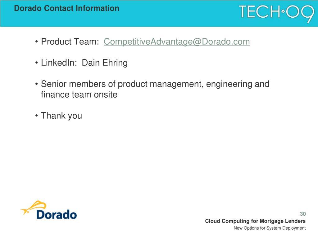 Dorado Contact Information