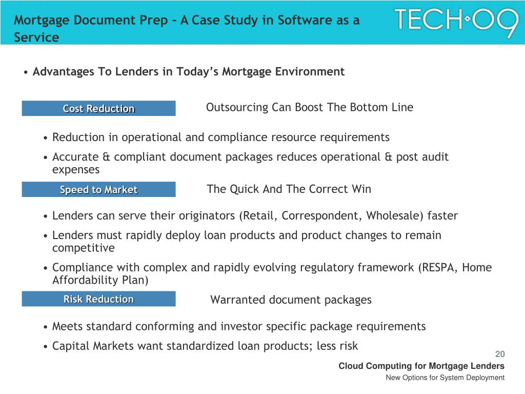 Mortgage Document Prep – A Case Study in Software as a Service