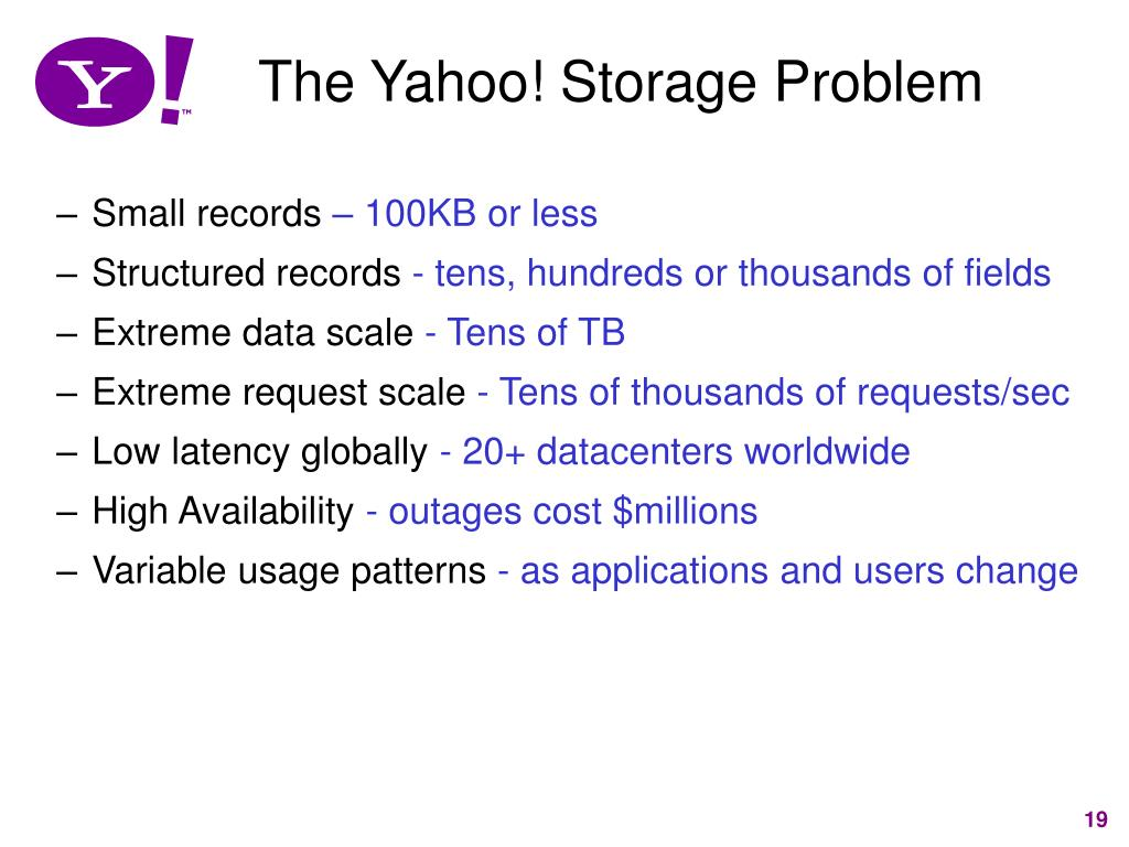 The Yahoo! Storage Problem