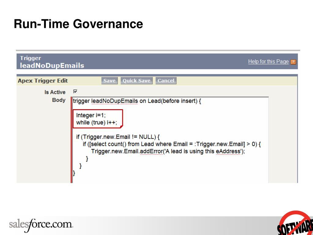 Run-Time Governance