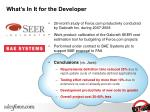 what s in it for the developer