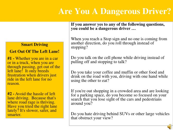 Are You A Dangerous Driver?