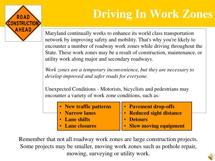 Driving In Work Zones