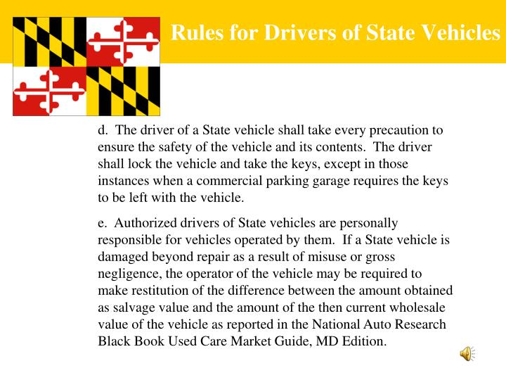 Rules for Drivers of State Vehicles
