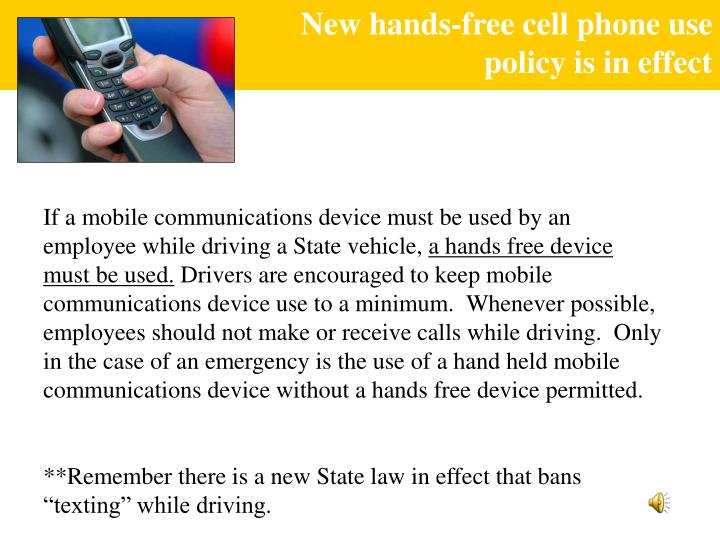 New hands-free cell phone use