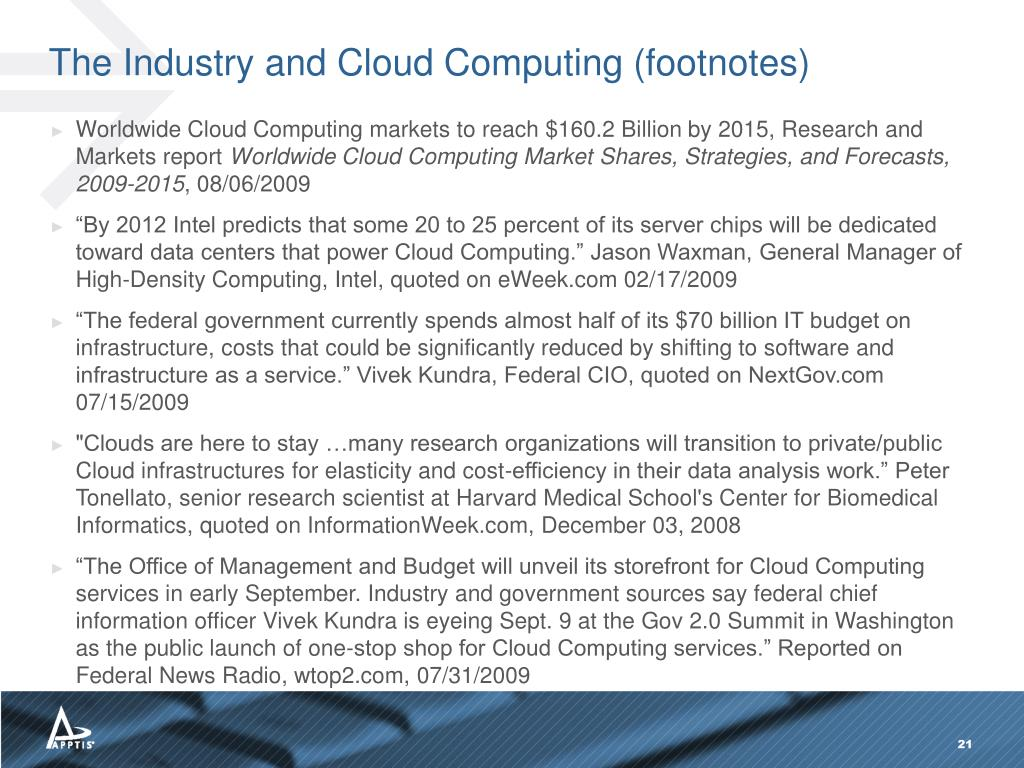 The Industry and Cloud Computing (footnotes)