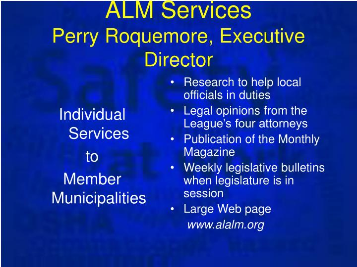 Alm services perry roquemore executive director