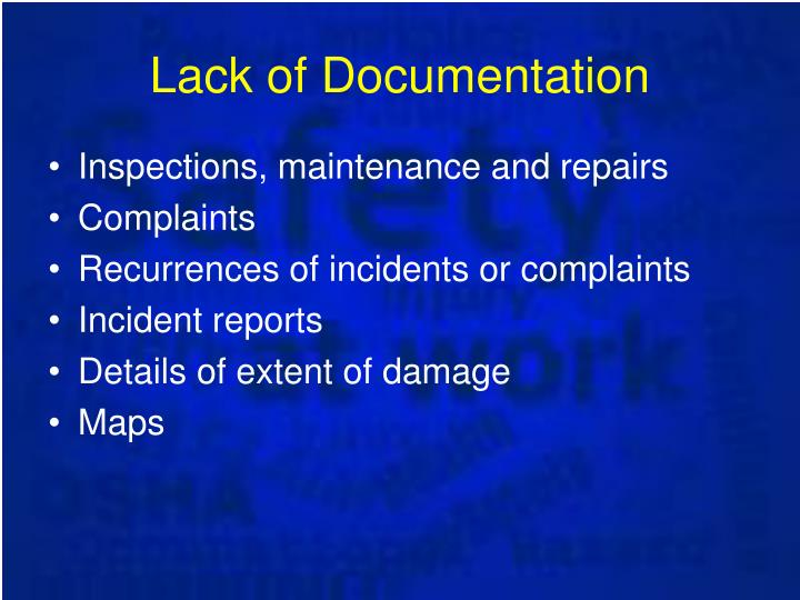 Lack of Documentation