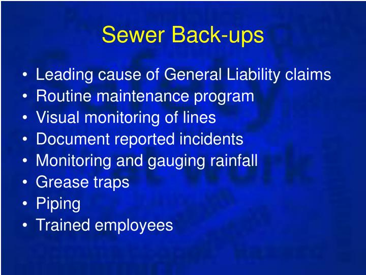 Sewer Back-ups