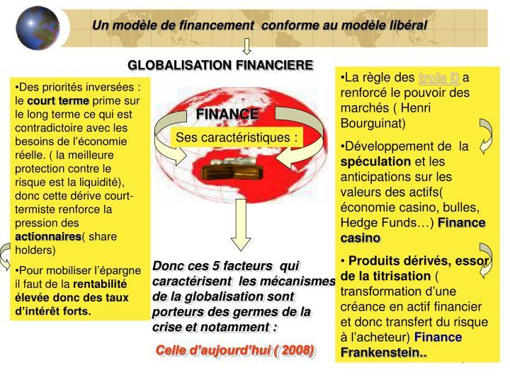 Un modèle de financement  conforme au modèle libéral