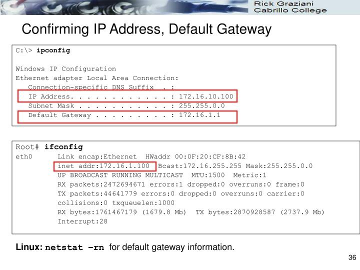 Confirming IP Address, Default Gateway