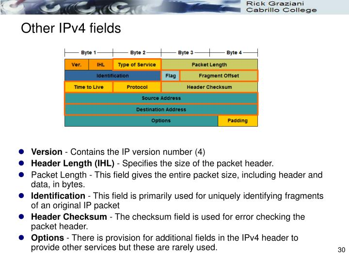 Other IPv4 fields