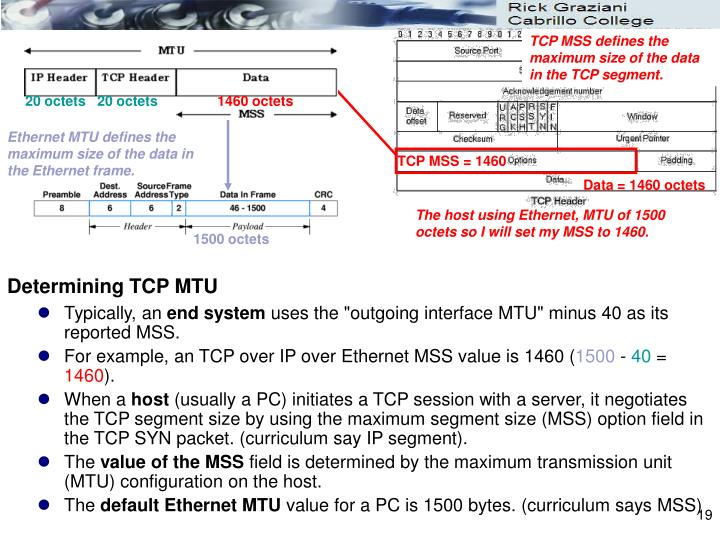 TCP MSS defines the maximum size of the data in the TCP segment.