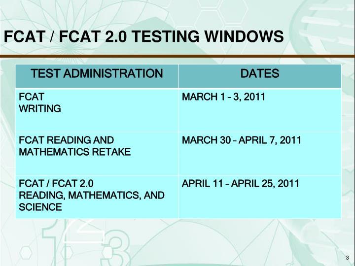 FCAT / FCAT 2.0 TESTING WINDOWS