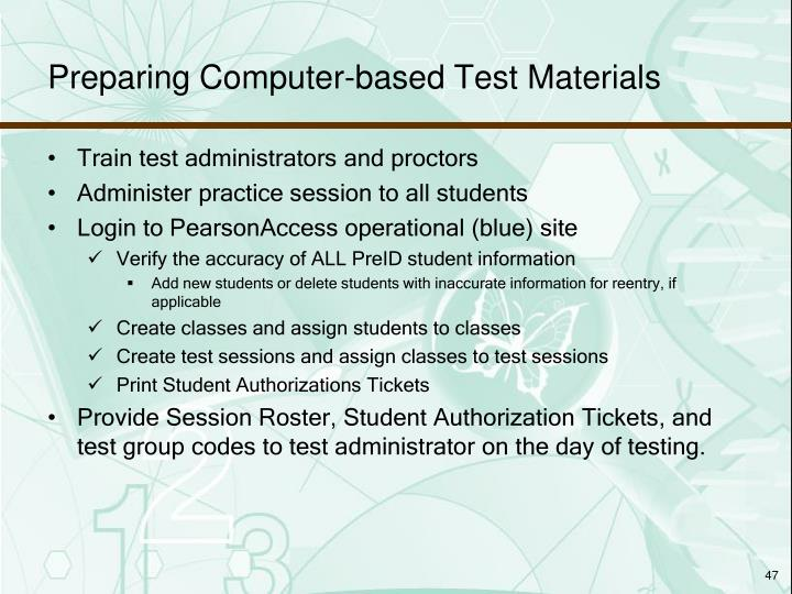 Preparing Computer-based Test Materials