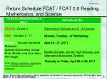return schedule fcat fcat 2 0 reading mathematics and science