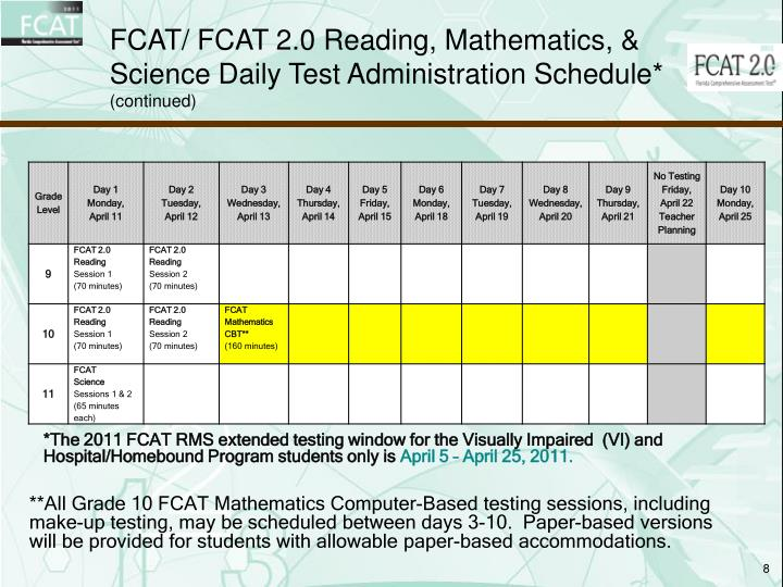 FCAT/ FCAT 2.0 Reading, Mathematics, & Science Daily Test Administration Schedule*