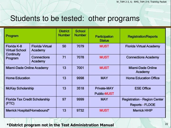W_TAM 2-3, 6;  RMS_TAM 3-4; Training Packet