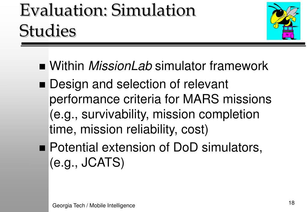 Evaluation: Simulation Studies