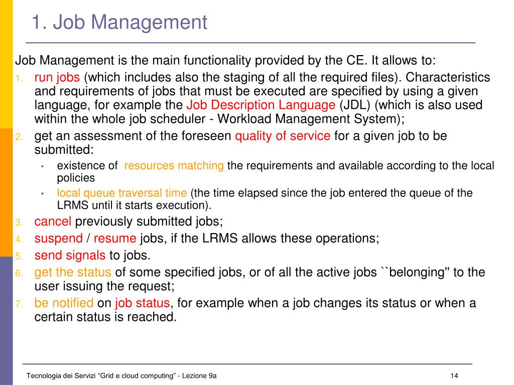 1. Job Management