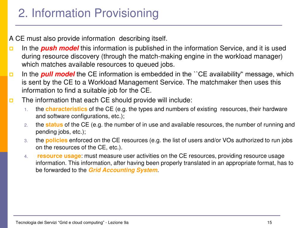 2. Information Provisioning