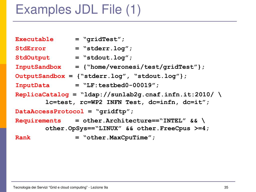 Examples JDL File (1)