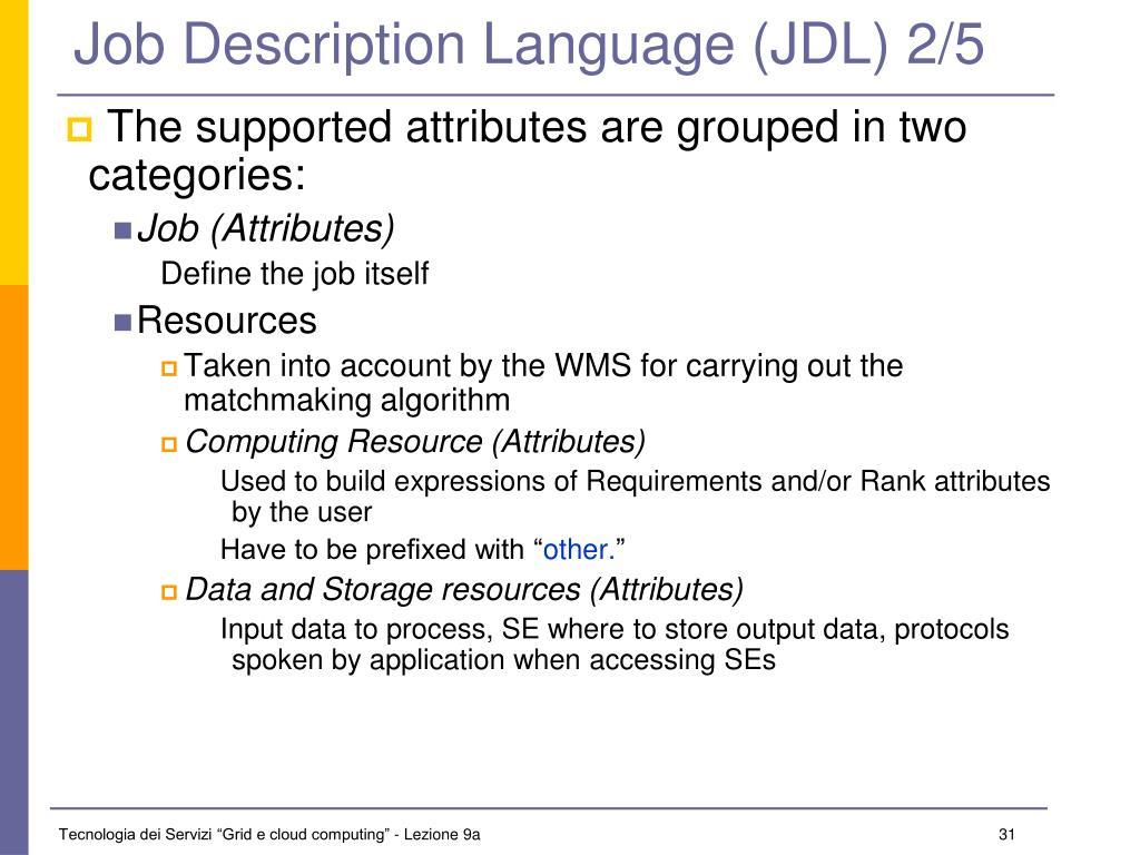 Job Description Language (JDL) 2/5