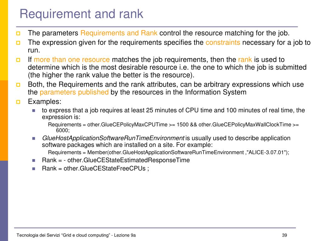 Requirement and rank