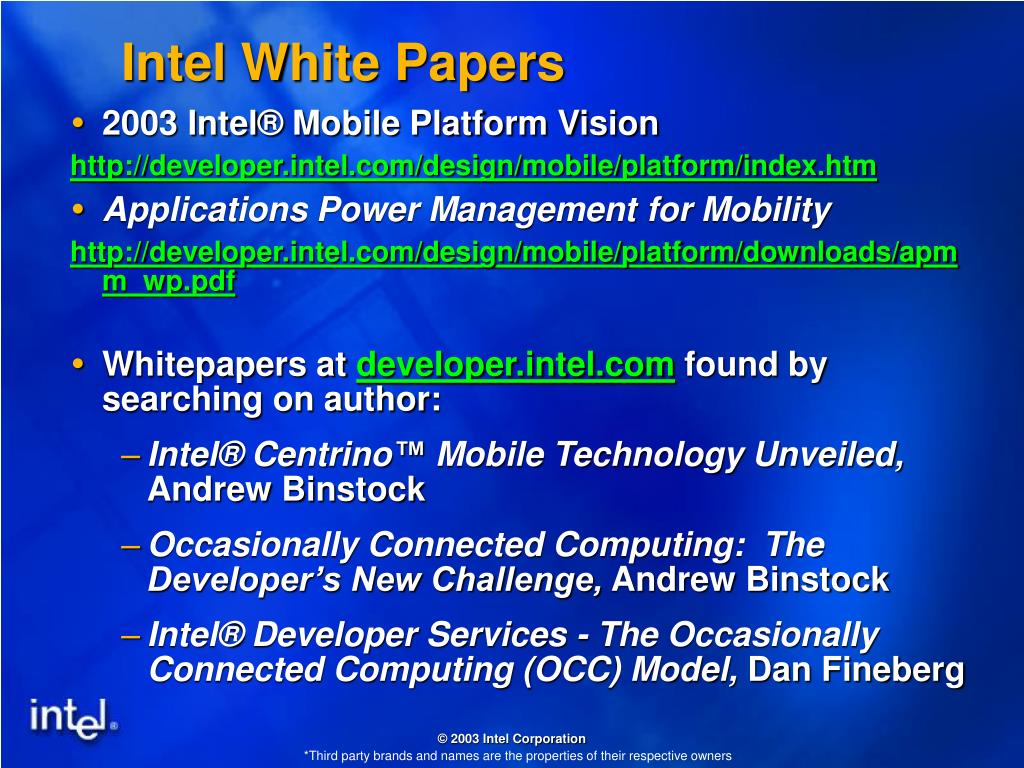 Intel White Papers