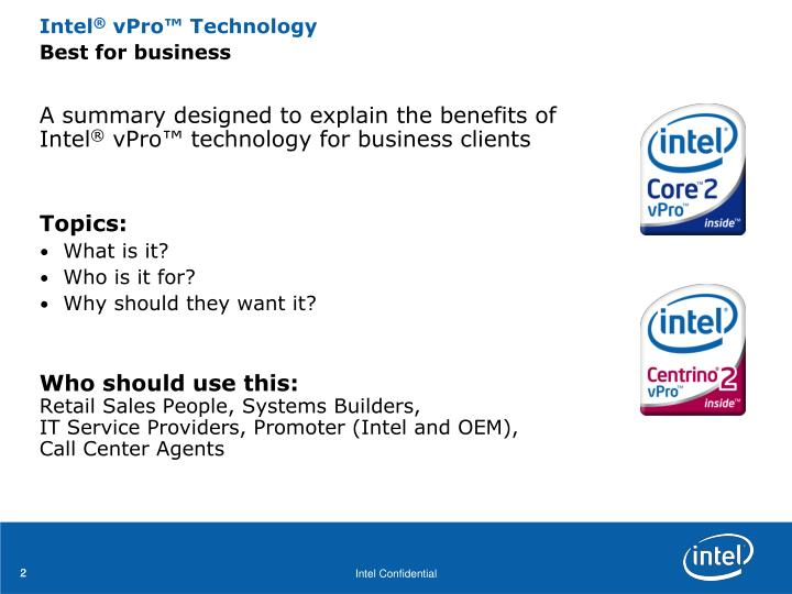 A summary designed to explain the benefits of Intel