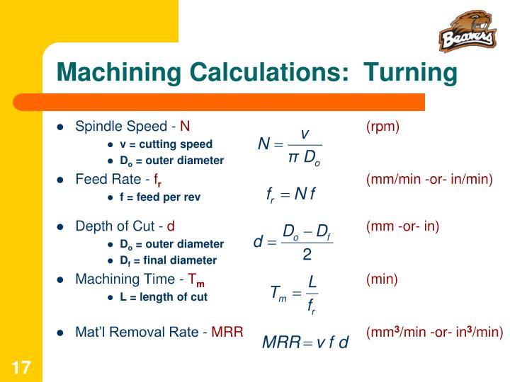 Machining Calculations:  Turning