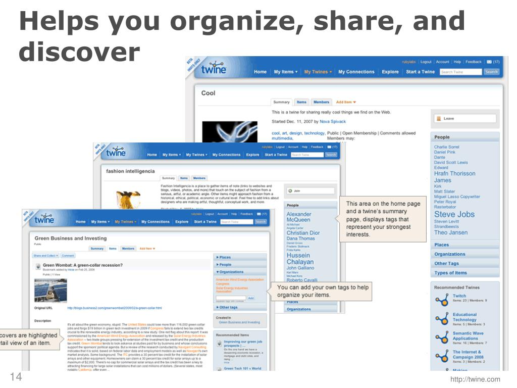 Helps you organize, share, and discover