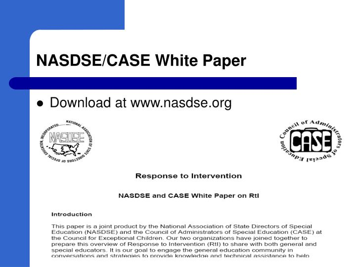 NASDSE/CASE White Paper