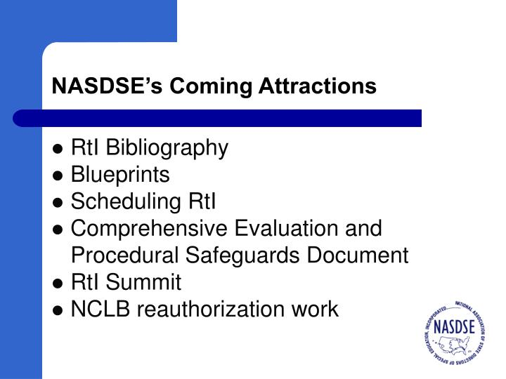 NASDSE's Coming Attractions