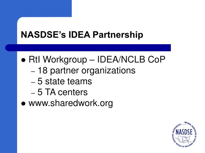 NASDSE's IDEA Partnership