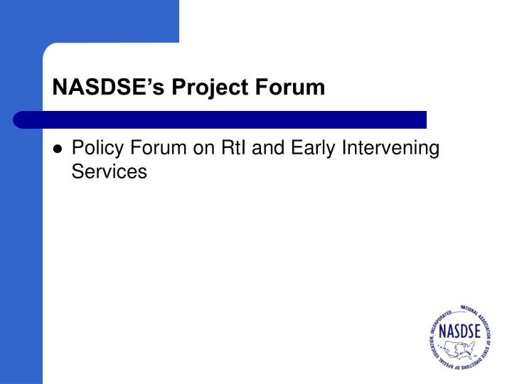 NASDSE's Project Forum