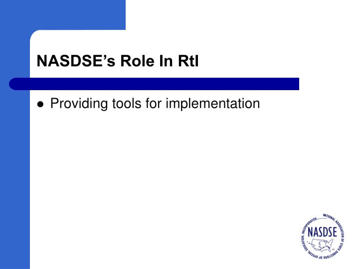 NASDSE's Role In RtI